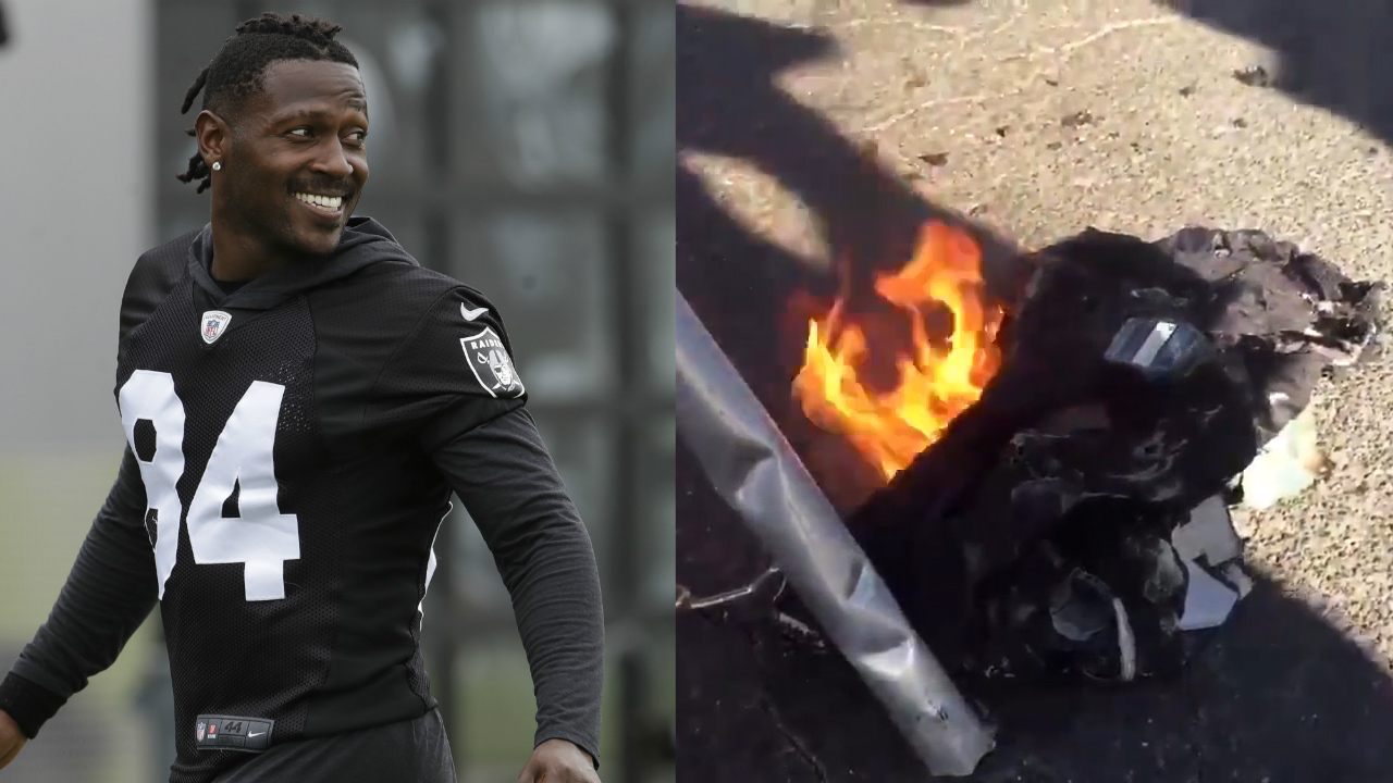 newest 792b0 d2c9a Raiders fans burn Antonio Brown jersey after he signs with ...