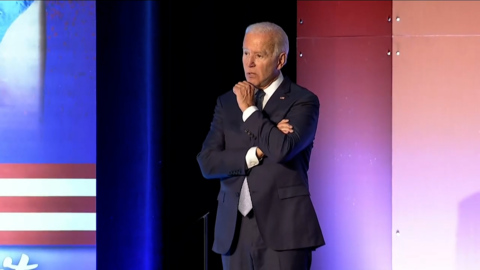 """Democratic Presidential candidate Joe Biden promises the """"dignity"""" of healthcare protection"""
