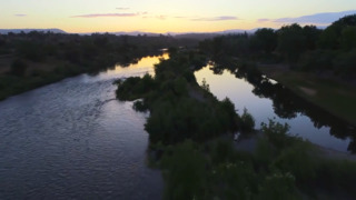 Fly over Feather River in Northern California on a beautiful June day