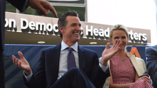 Brown endorses Newsom – 'a guy with really nice hair'