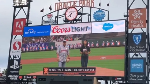 Watch family members of fallen Sacramento, Davis police officers throw first pitch at Giants game