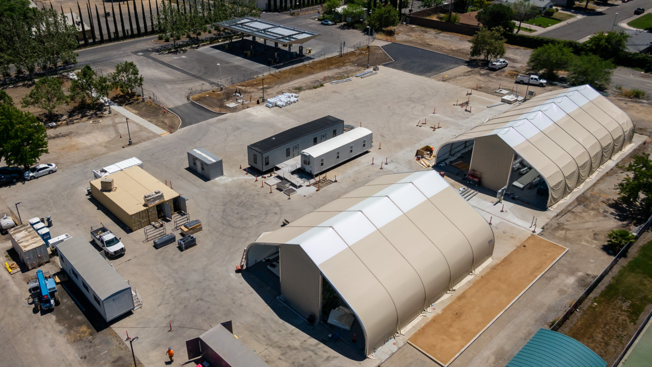 See the video of progress being made on a large Sacramento homeless shelter