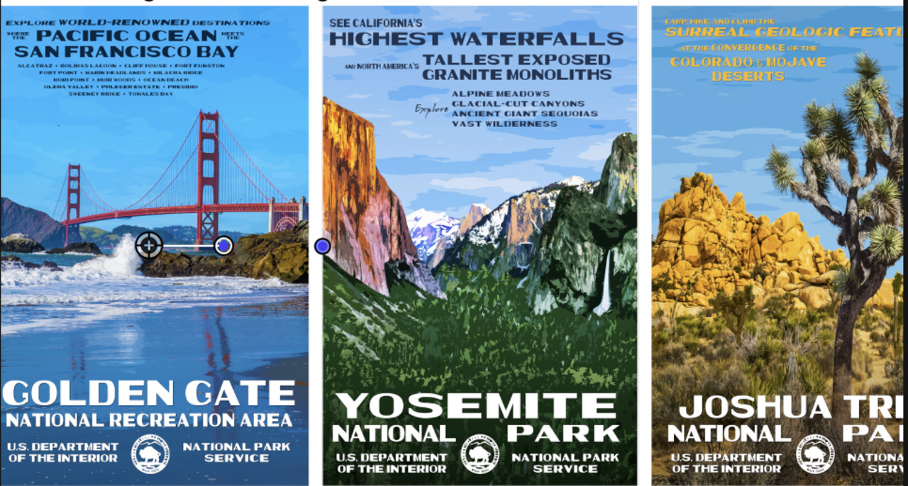 Check out artist's nostalgic posters of Yosemite and dozens of other national parks, A-Z