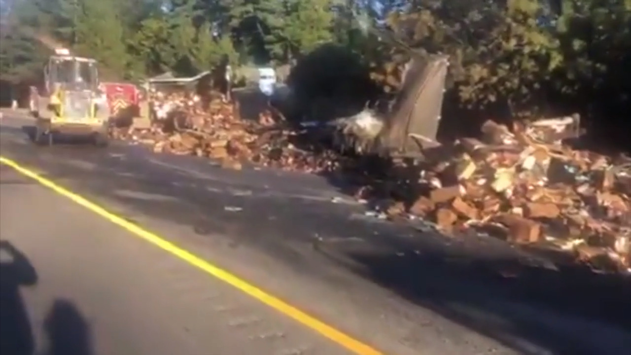 Big rig carrying 15 tons of frozen food catches fire on I-80, CHP says