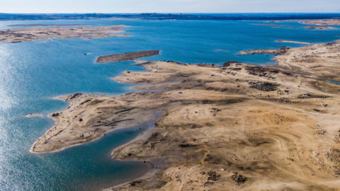 See drone view Folsom Lake, only about a quarter full, before big storm