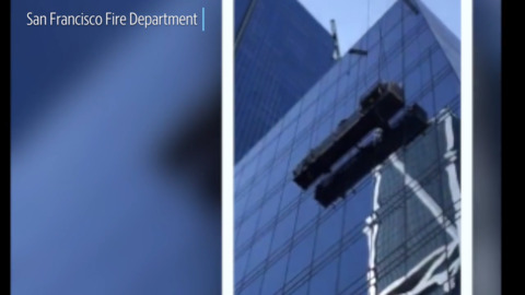 Window washers stuck 10 stories up rescued by San Francisco firefighters, video shows