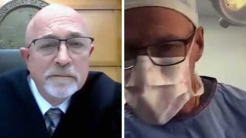 Doctor appears in court video call while performing surgery