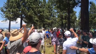Watch 49ers kicker Robbie Gould cheer on a beer-chugging fan during celebrity golf tournament