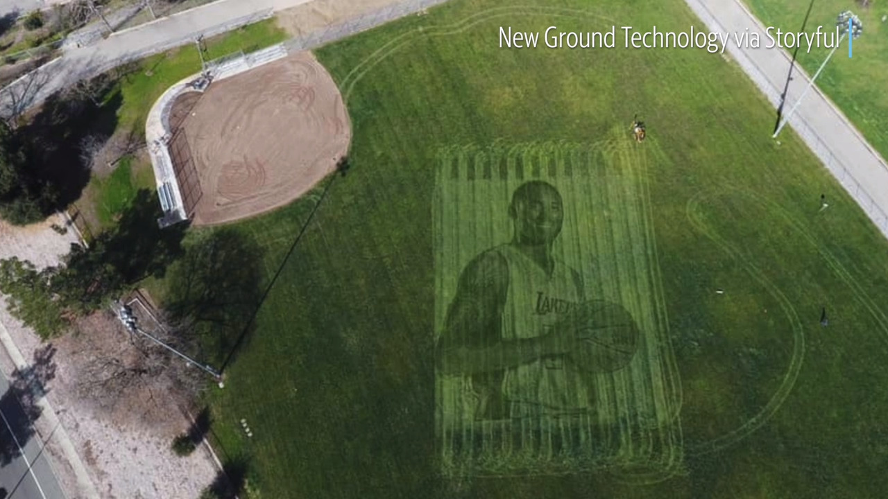 Take a look at a giant Kobe Bryant grass mural that can only be seen from the sky
