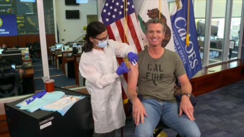 Watch Gavin Newsom get his flu shot during live news conference