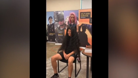 His last haircut was in 2004. Watch man donate 150 inches of hair to join the Army