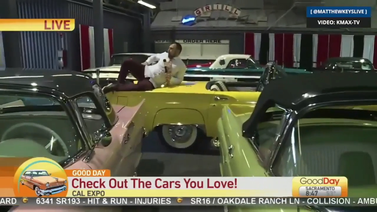 'Astonishingly awful': Sacramento TV reporter bashed after jumping on classic cars