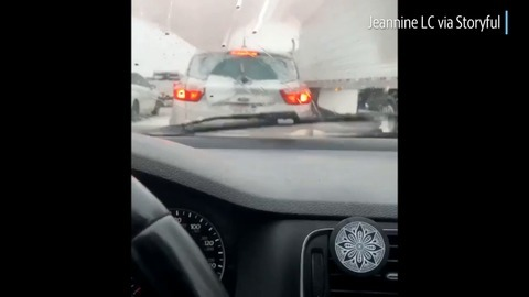 This is what Southern California's gridlocked 'Grapevine' looked like due to snow, extreme wind
