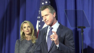 In primary victory speech, Newsom frames the California governor race as a fight with Trump