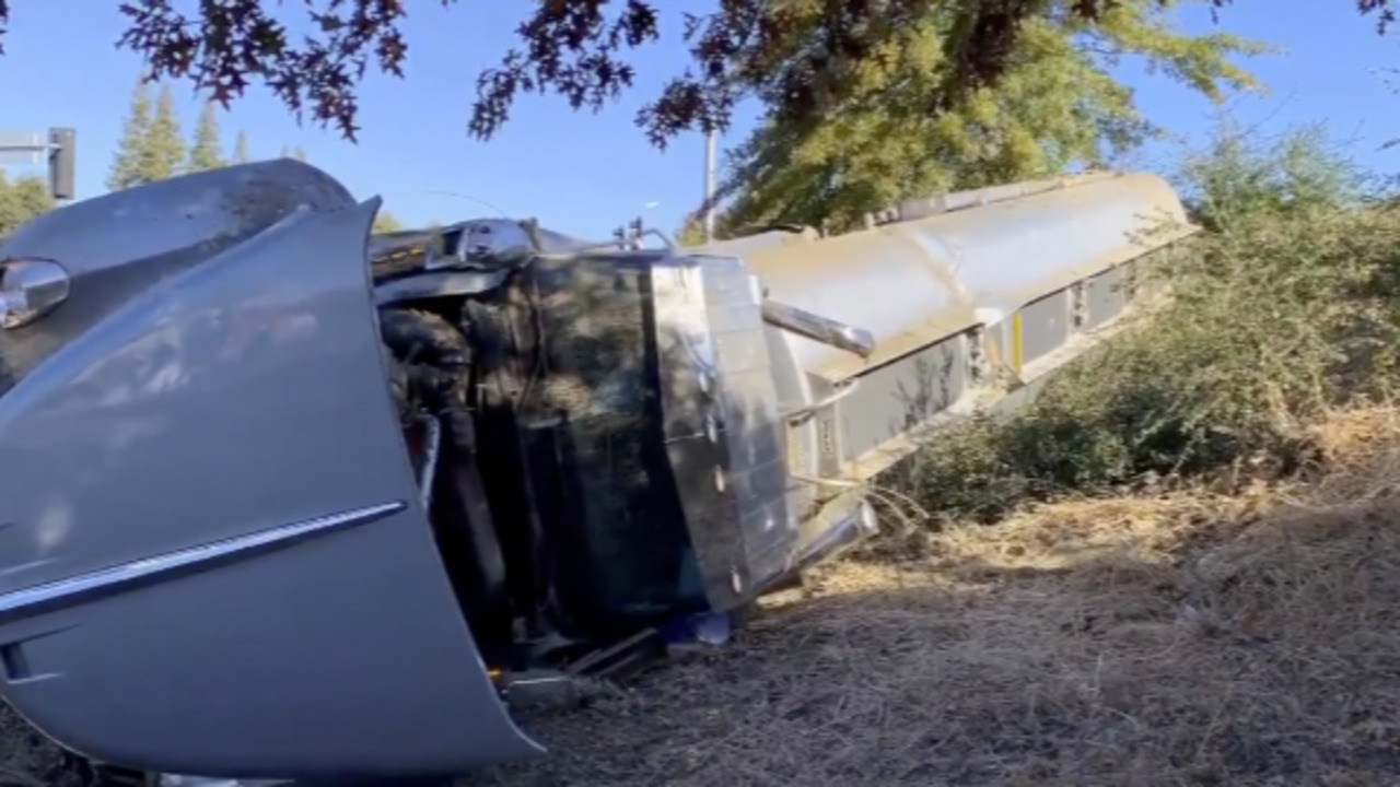 Gas tanker crashes off I-5 overpass in Sacramento. Ramps closed, none hurt, CHP says