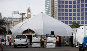 Here's what a Sprung structure looks like. They may be used for Sacramento homeless shelters