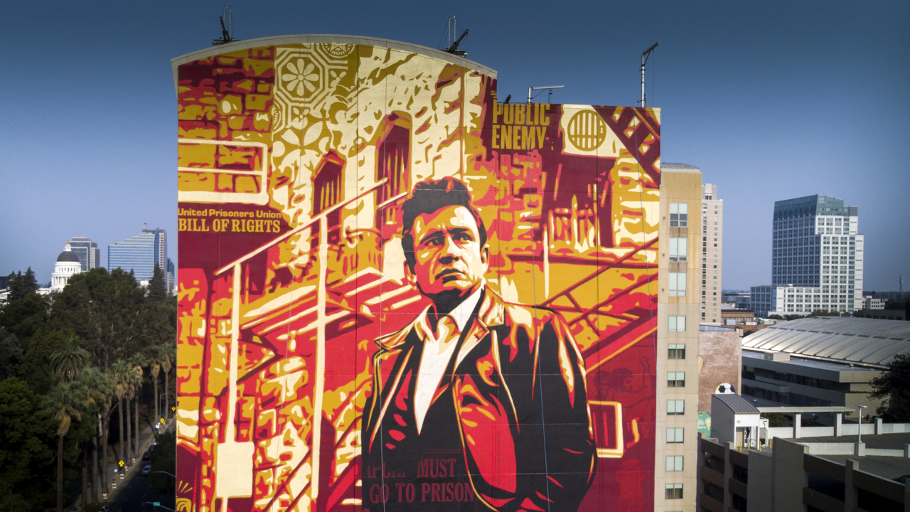 Image result for Graffiti Artist Shepard Fairey Unveils Johnny Cash Mural