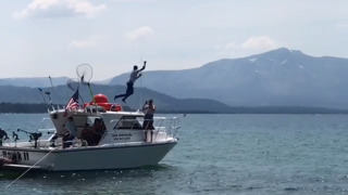 Watch Warriors guard Stephen Curry jump into Lake Tahoe after losing bet