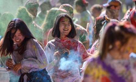 Watch scenes from the Holi Festival of Colors at Southside Park