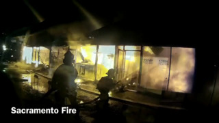 These 45 seconds of dramatic Sac Fire helmet cam footage takes you into massive battle to save building