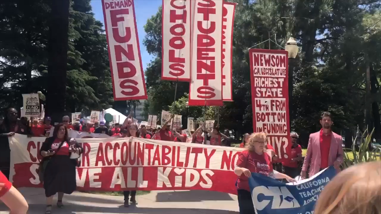'Starvation diet' for schools protested by California teachers, officials, students at Capitol