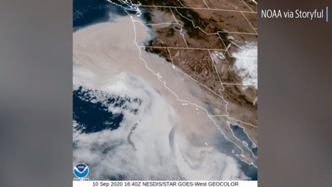 Satellite shows wildfire smoke moving across West Coast