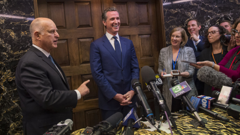 Watch California Gov. Brown appear with Gov.-elect Newsom for the first time
