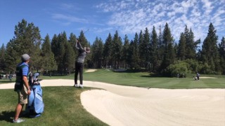 Watch Vince Carter shoot near a bunker at Tahoe golf tournament