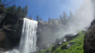 Look at the dramatic rush of water at Vernal Fall and Nevada Fall in Yosemite as snowpack melts