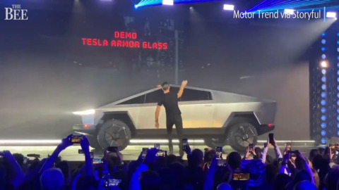 Watch: Tesla unveils 'cybertruck' to great fanfare but 'armor glass' demonstration fails