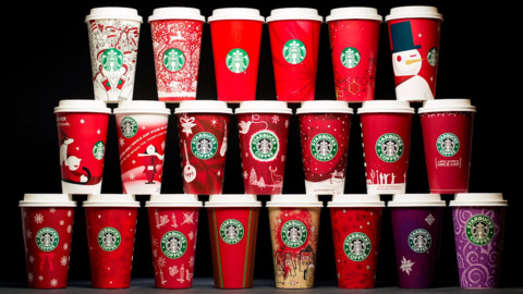 Starbucks holiday cups over the past 20 years
