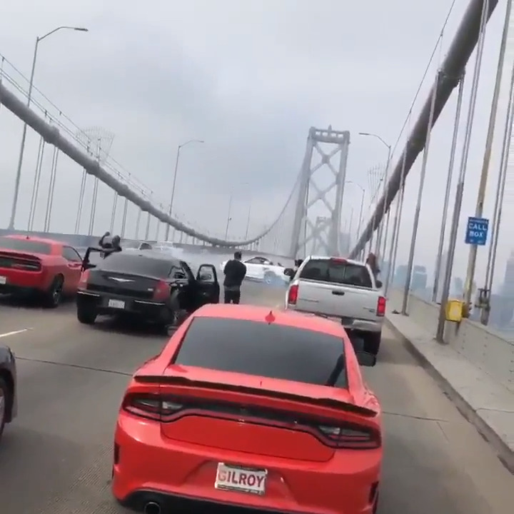 Watch the Bay Bridge sideshow that stopped traffic Sunday morning