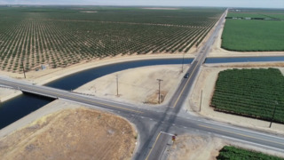 See drone footage of a sinking canal in California's Central Valley