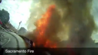 Watch helmet footage from Sacramento firefighter putting out a car fire in Del Paso Heights