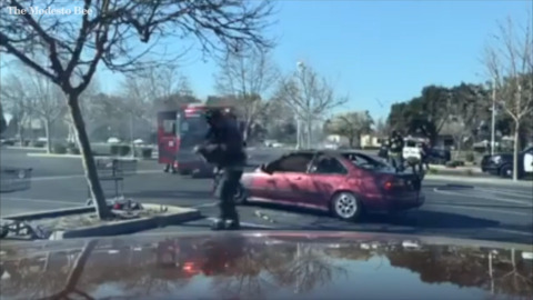 Turlock firefighters rescue dog trapped in burning car