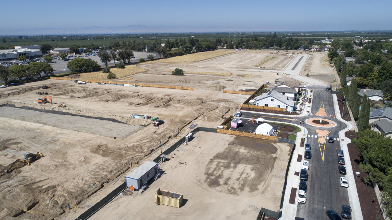 Drone soars above new housing development next to Modesto