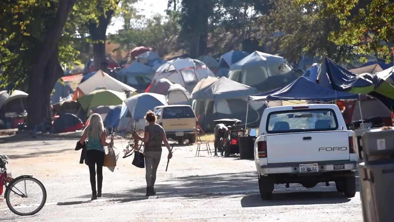 Tents up for Modesto CA homeless moving from Beard Brook Park | The