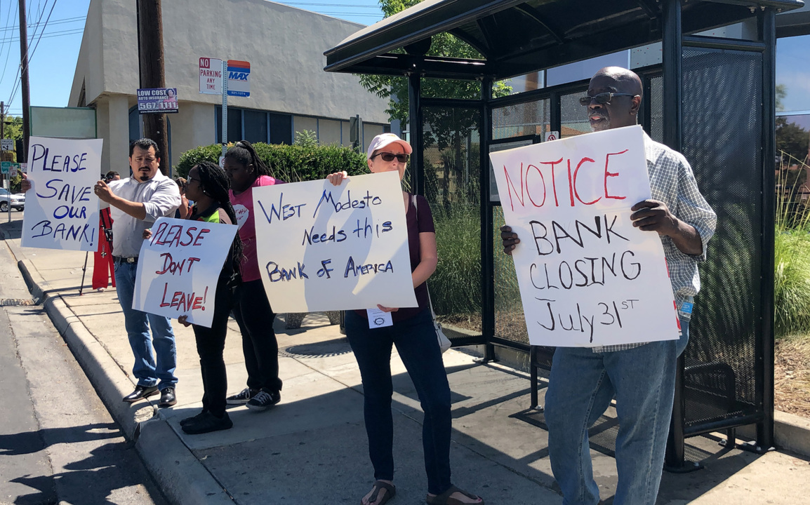 West Modesto residents protest closure of Bank of America