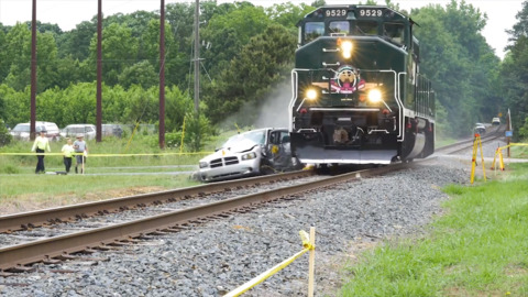 Car crushed at Morrisville rail crossing brought back as a warning to other drivers