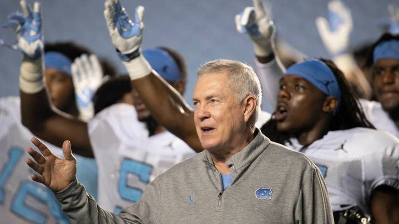 'Let's don't leave mad.' Mack Brown's take on UNC quarterbacks and the transfer portal.