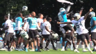 Linemen catch the ball and Panthers end practice early