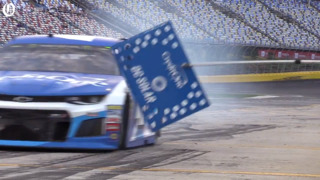 Kyle Larson comes into his pit a little hot during All-Star race qualifying
