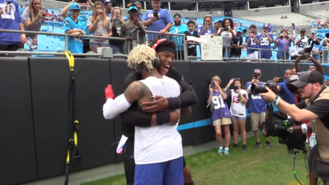 Cam and Odell Beckham hangout before going head-to-head