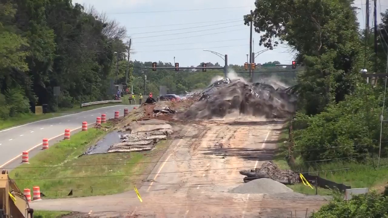 Series of explosions resembles giant worm crawling under Virginia road, video shows