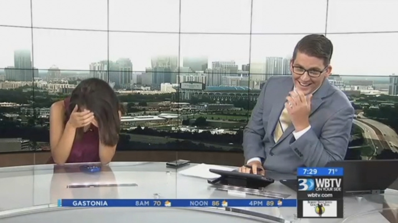 Charlotte TV anchor accidentally belches on air, then co-anchor