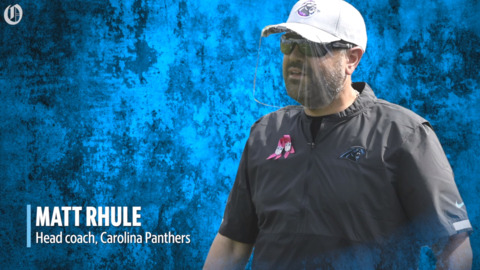 Panthers coach Matt Rhule wears two pink ribbons for two important women