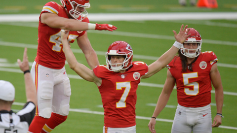 Chiefs' kicker Butker talks about the two 'practice' kicks that led to his game-winning field goal in OT