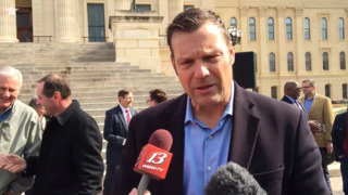 Kris Kobach talks about arming teachers at gun rights rally at Kansas Capitol