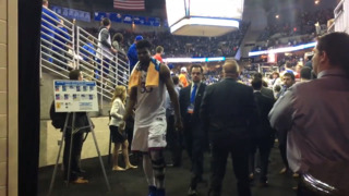 Jayhawks leave court after defeating Clemson in Sweet 16