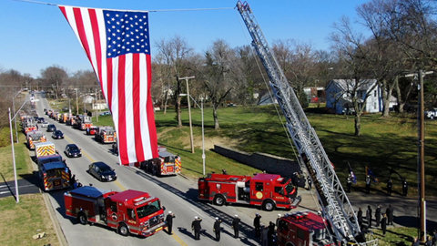 "Video: Funeral procession for KCFD captain Robert ""Bobby"" Rocha who died of COVID-19"